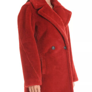 Faux Rabbit Fur Pea Coat In Red