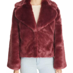 Wine Short Faux Fur Coat