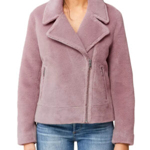 Sherpa Jacket with Moto Collar In Rose