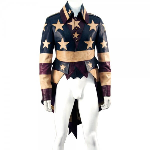 USA Flag Luxury Leather Vintage Tail Coat Men's Jacket