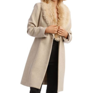 Youth Fashion Oatmeal Faux Fur Collar Coat