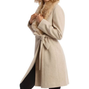 Youth Fashion Oatmeal Faux Fur Collar Coat