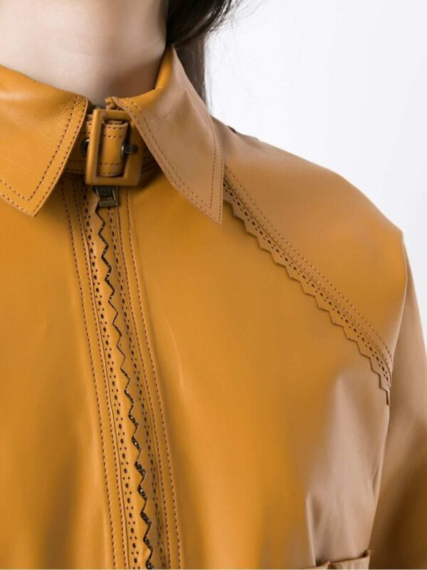 Women Yellow Pointed Leather Jackets