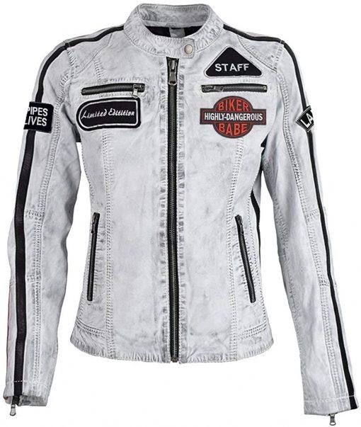 Retro Strips Leather Biker Jacket
