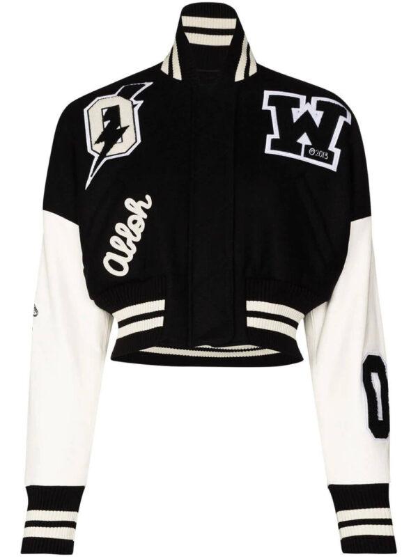Back and White Cropped Varsity Bomber Jacket