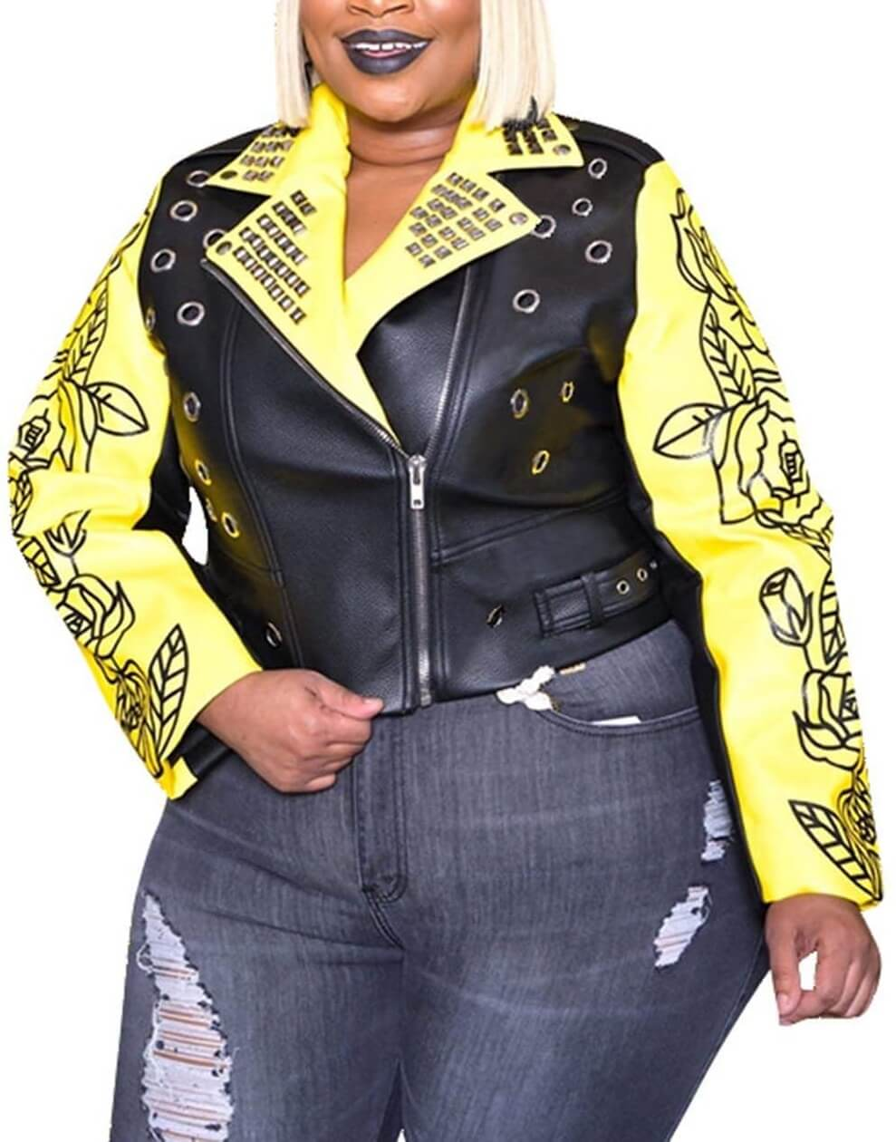 Back and Yellow Flowers and Letters Printing Leather Jacket
