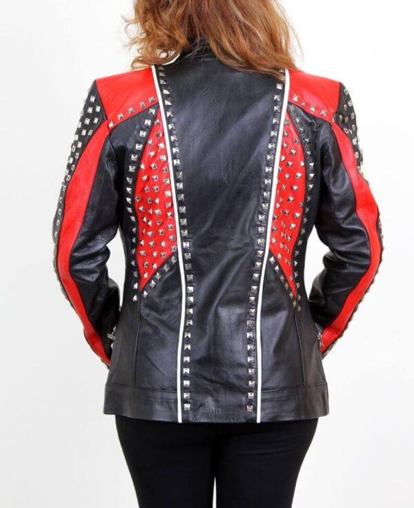 Biker Studded Leather Jacket for Women