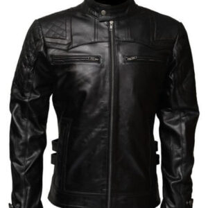 Black Affliction Biker Leather Jacket