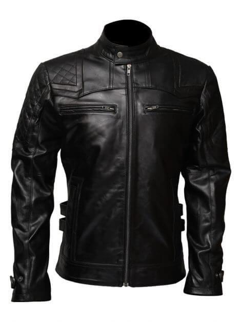 Black Affliction Biker Leather Jacket