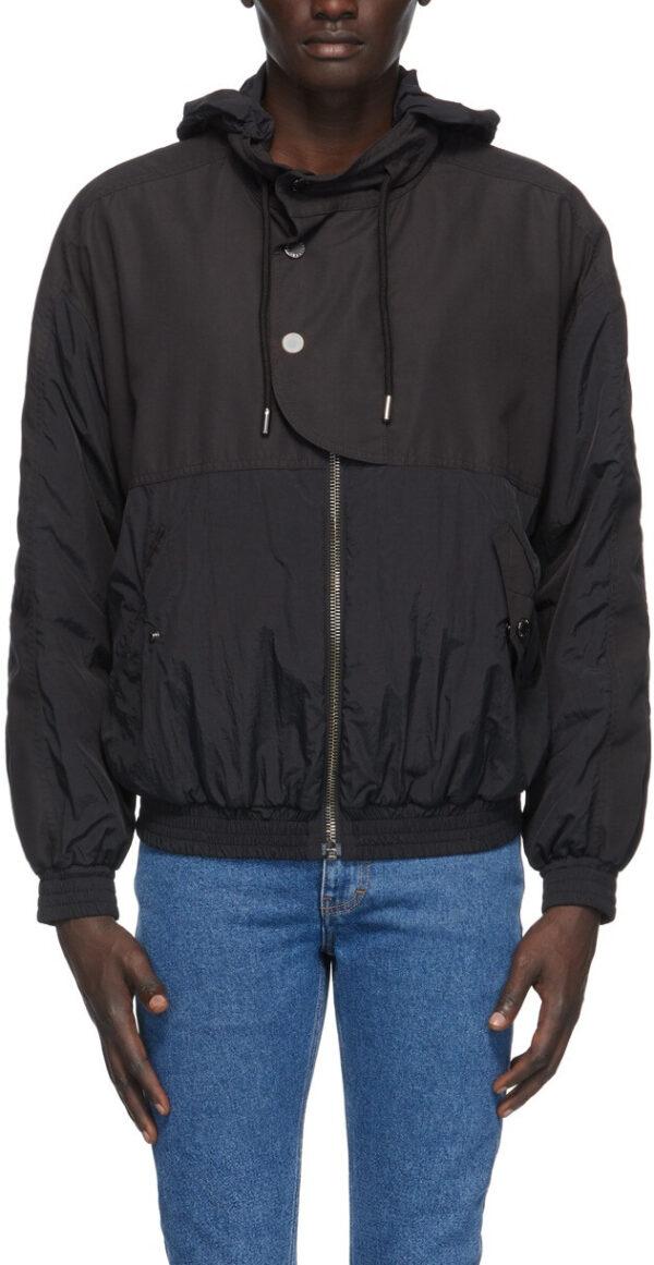 Black Hooded Satin Bomber Jacket