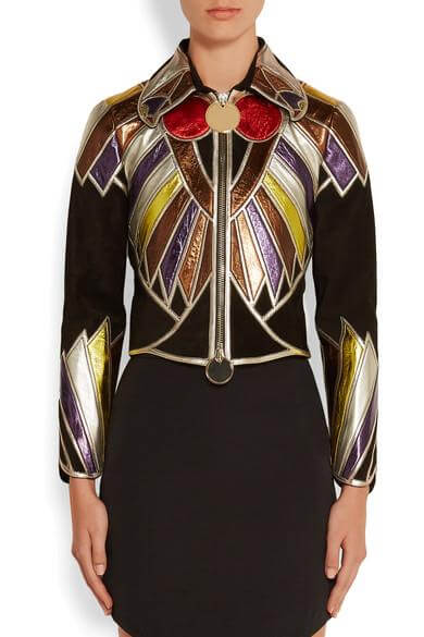 Black In Multi Cropped Patchwork Metallic Leather Jacket