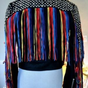 Black Leather Multi Color Fringes Silver Studded Jacket