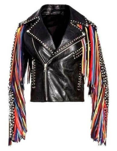 Black Leather Multi Color Fringes Silver Studded Jacket