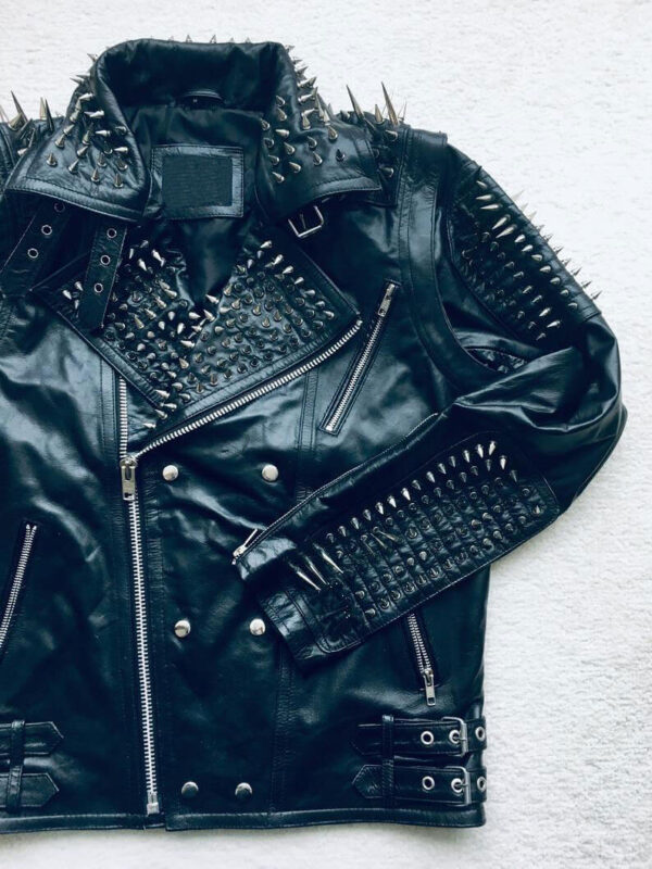 Black Long Spiked Studded Leather Jacket and Vest Two in One