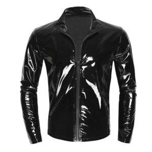 Black Shiny Metallic Leather Jacket