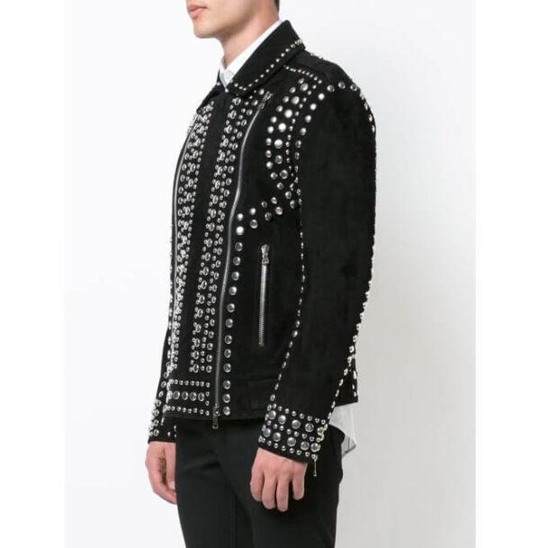 Black Suede Punk Rock Studded Leather Jacket