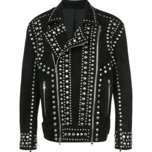 Black Suede Punk Rock Studded Leather Jacket