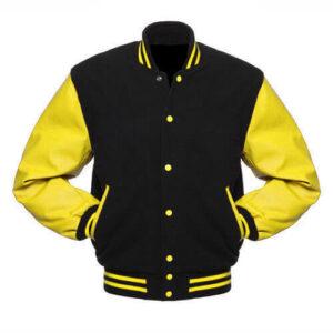 Black Varsity Letterman Baseball Bomber Jacket