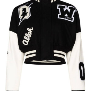 Black and White Cropped Varsity Bomber Jacket