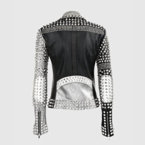 Black&Silver Spiked Studded Leather Jacket