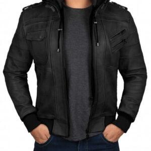 black-hooded-leather-bomber-jacket
