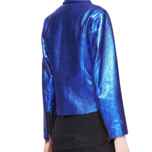 Blue Boxy Metallic Leather Biker Jacket