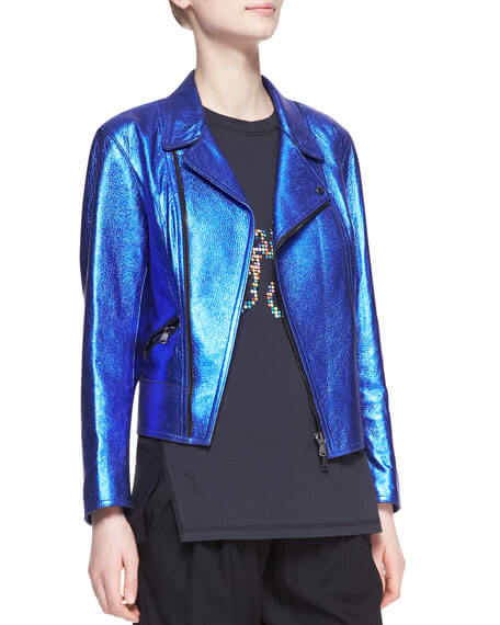 Blue Boxy Metallic Leather Biker Jacket