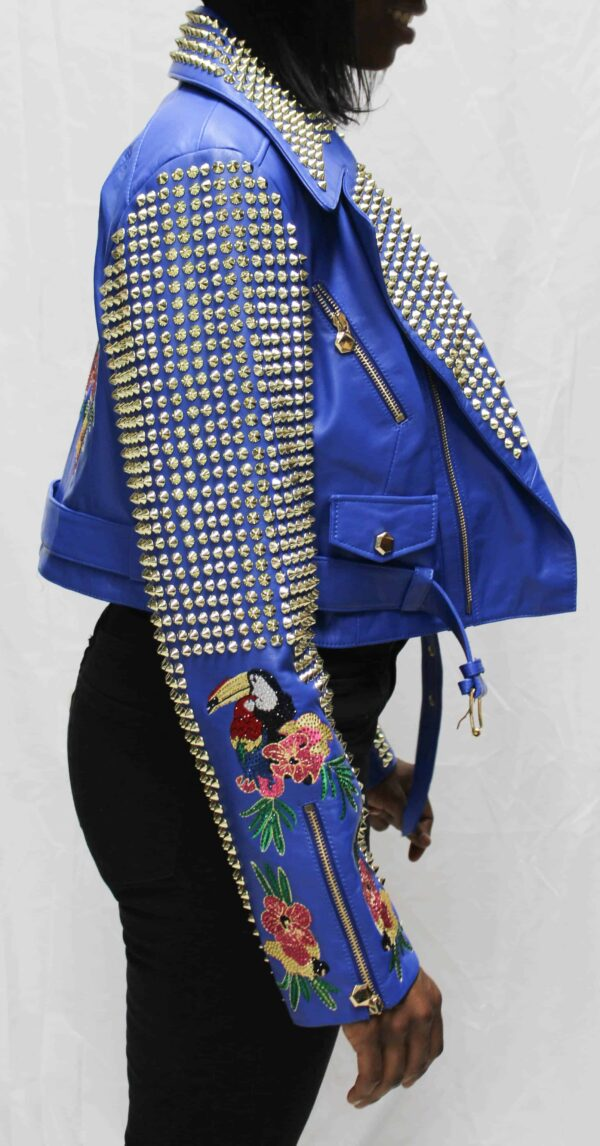 Blue Spiked Short Leather Women's Jacket