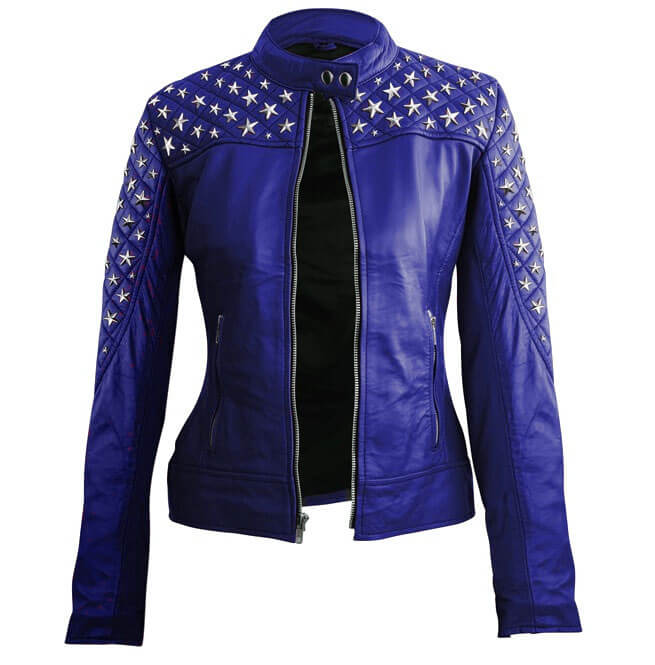 Blue Star Silver Studs Quilted Leather Jacket