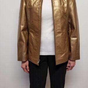 Bronze Metallic Leather Women Jacket
