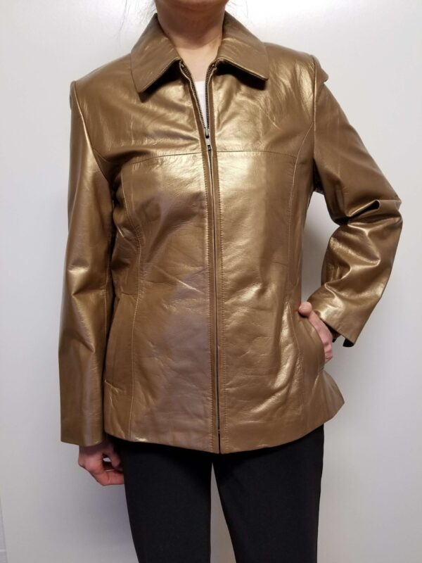 Bronze Metallic Leather Women Jacket