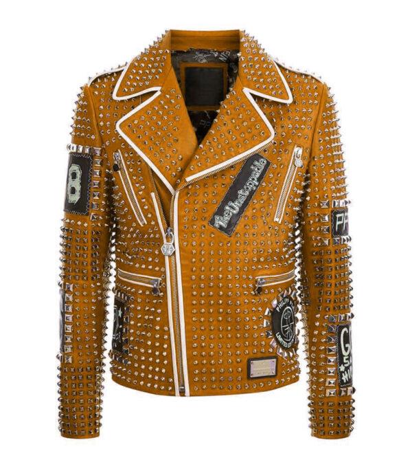 Philipp Plein Brown Full Silver Studded Leather Jacket