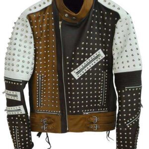 Brown Full Studded Biker Leather Jacket