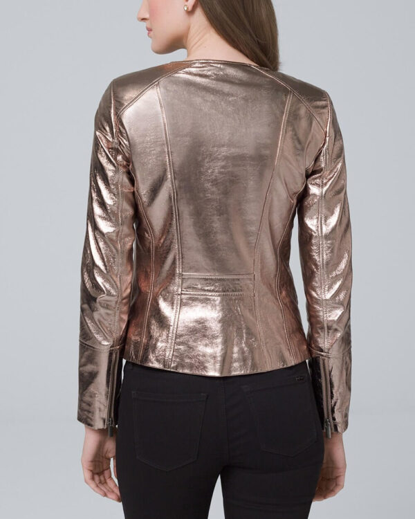 Brown Metallic Biker Leather Jacket