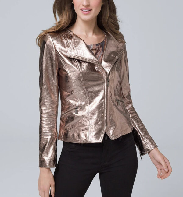 Brown Metallic Biker Leather Jacket