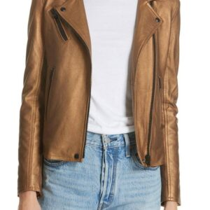 Brown Metallic Leather Biker Jacket