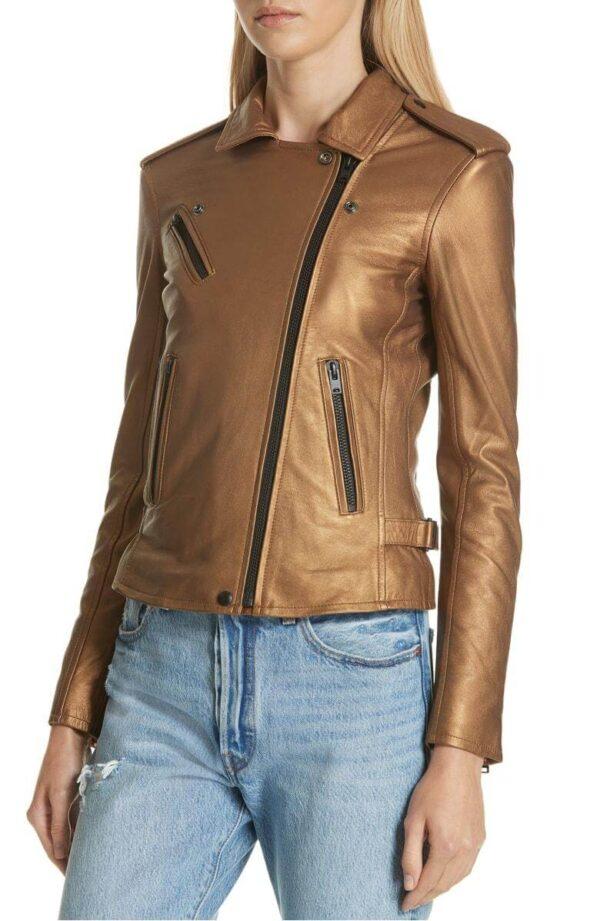 Brown Metallic Leather Biker Jacket