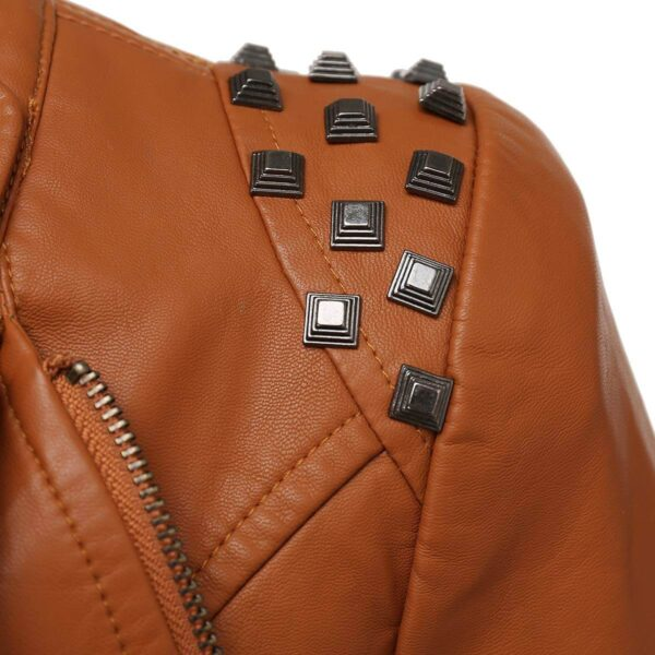 Brown Silver Studded Rivet Leather Jacket