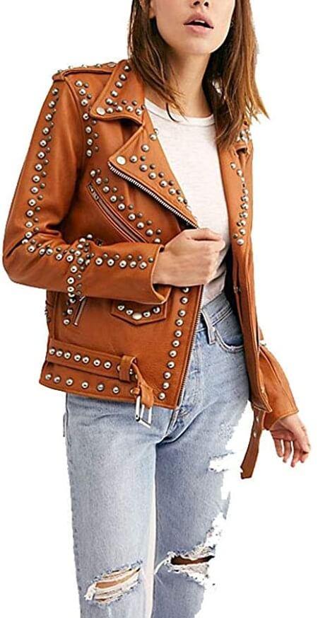 Brown Studded Women's Punk Biker Leather Jacket