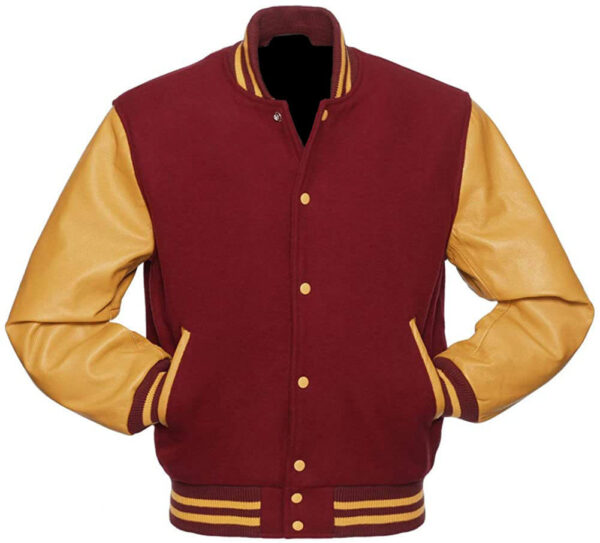 Cardinal and Golden Varsity Letterman Baseball Jacket