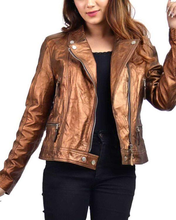Copper Metallic Women's Leather Biker Jacket