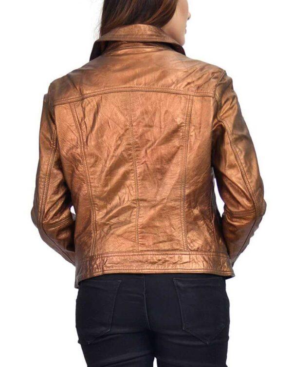Copper Metallic Women's Leather Biker Jacket Copper Metallic Women's Leather Biker Jacket