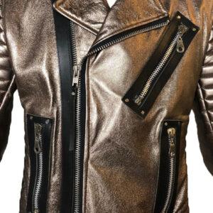 Dark Copper Metallic Leather Men's Jacket
