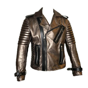 Dark Copper Metallic Leather Men's Jacket