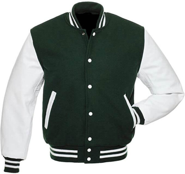 Dark Green Letterman Varsity Baseball Wool Jacket