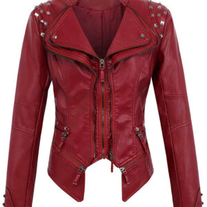 Dark Red Silver Studded Rivet Leather Jacket