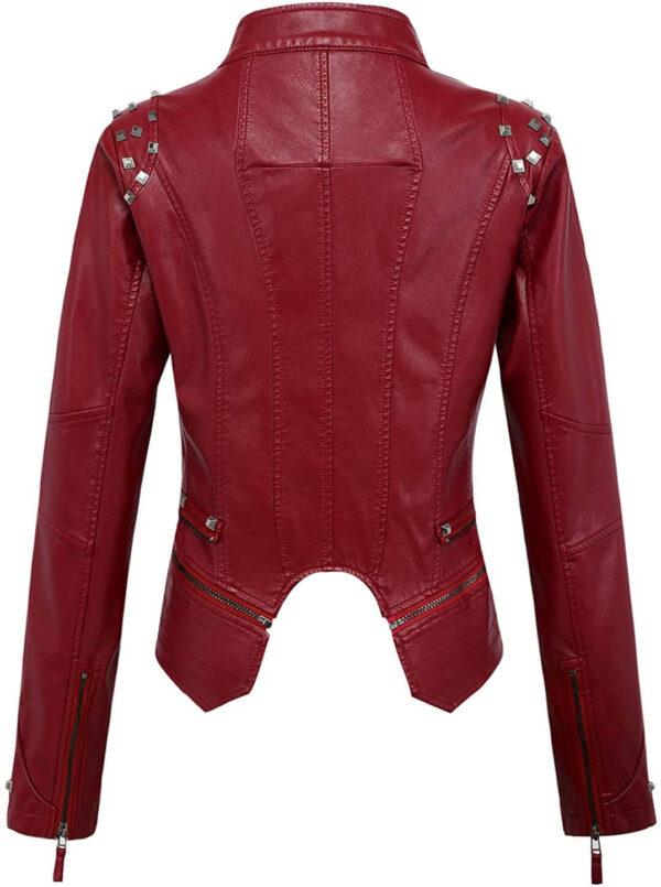 Dark Red Silver Studded Rivet Leather Jacket