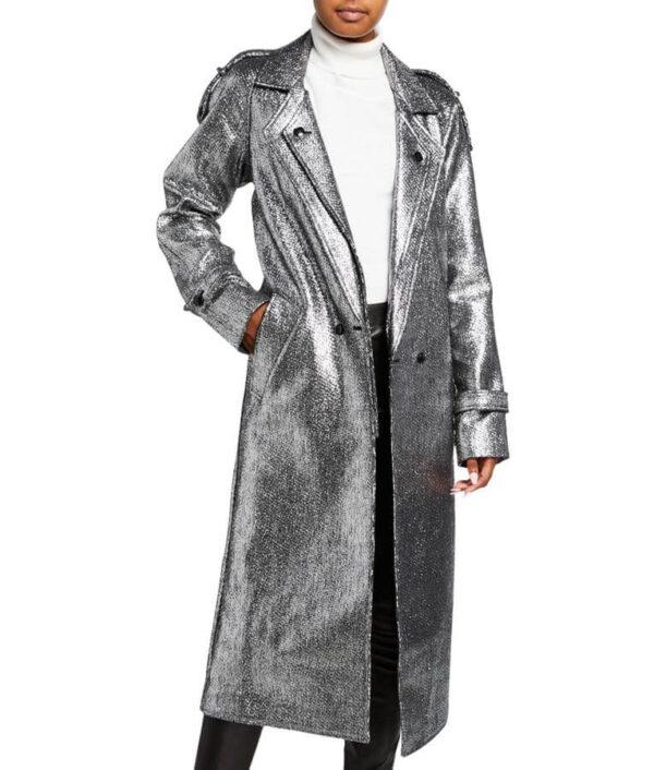 Dynasty S03 Fallon Carrington Silver Metallic Coat