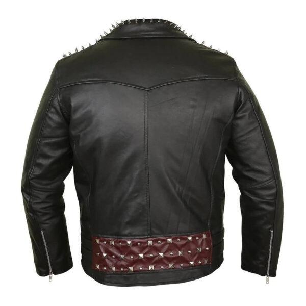 Edgy Black Leather Studded Biker Jacket