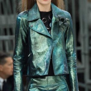 Emily Green Metallic Biker Leather Jacket